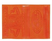 Обложка для паспорта кожаная рыжая 1002-66