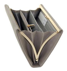 Кошелек с поцелуй книжка кожаный серый Pratero K 19-069-4
