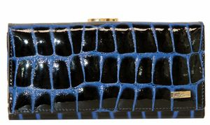 Кошелек кожаный синий крокодил женский Mario Veronni 97014