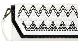 Белый клатч с черными камнями Farfalla Rosso 92303