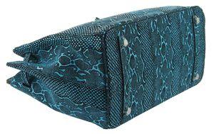 Сумка женская экокожа люкс с замком голубая 35-3